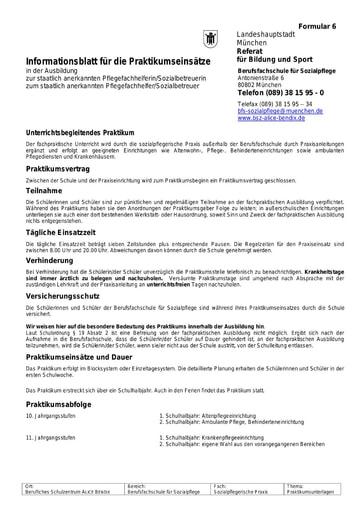 Informationsblatt zu den Praktikumseinsätzen